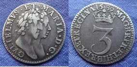 Threepence of William and Mary