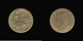 Aluminum-Bronze 10 Centimes of