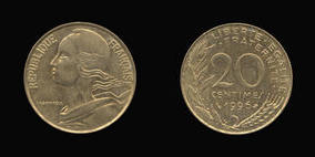 Aluminum-Bronze 20 Centimes of