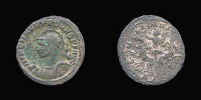 Bronze with very thin silver wash Antoninianus of
