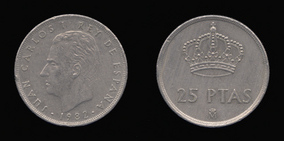 Copper-Nickel 25 Pesetas of